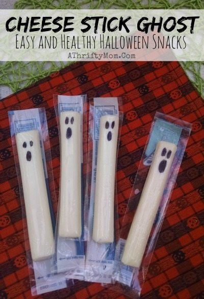 Cheese Stick Ghost Healthy Halloween Treats