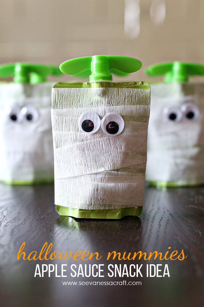 Mummy Applesauce Healthy Halloween Treats